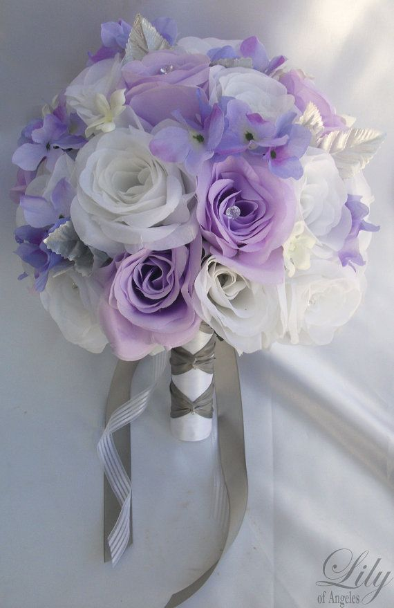 Model: WTLV01  This wedding flower package is made with natural looking White and Lavender Roses, White Stephanotis and Lavender Hydrangeas.    17
