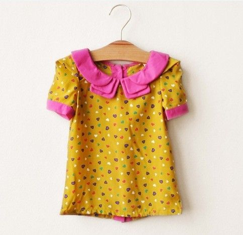 I Love Lucy Heart Chiffon Girls Top- Size 2T to 7 Mustard and Hot Pink  from Adornmegirl