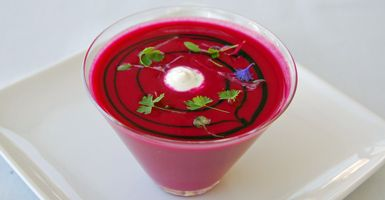 The borscht is a show stopper at the caviar-centric Petrossian Cafe.