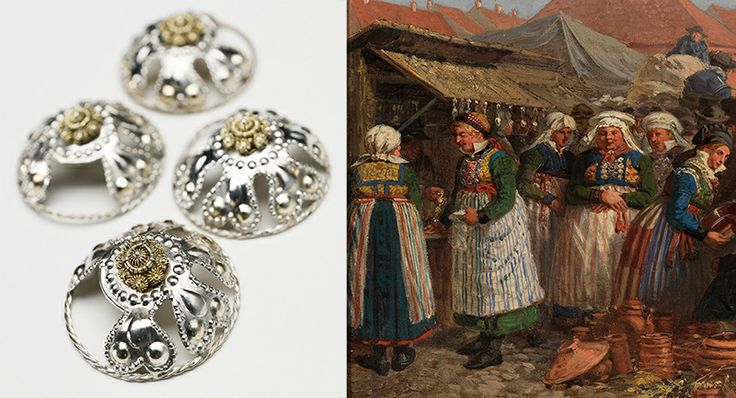 A peasant woman's bodice was laced at the front with a chain or band through rings, or it would be held together by clasps and hooks. These silver lacing rings, were made and worn in Skåne (southern Sweden) in the 19th century. The painting shows a market in Lund. The women are wearing bodices with lacing rings. Oil painting by J.W Wallander 1858. Images by Photo Mats Landin and Bertil Wreting, Nordiska museet used under a Creative Commons Attribution-NonCommercial-NoDerivatives.