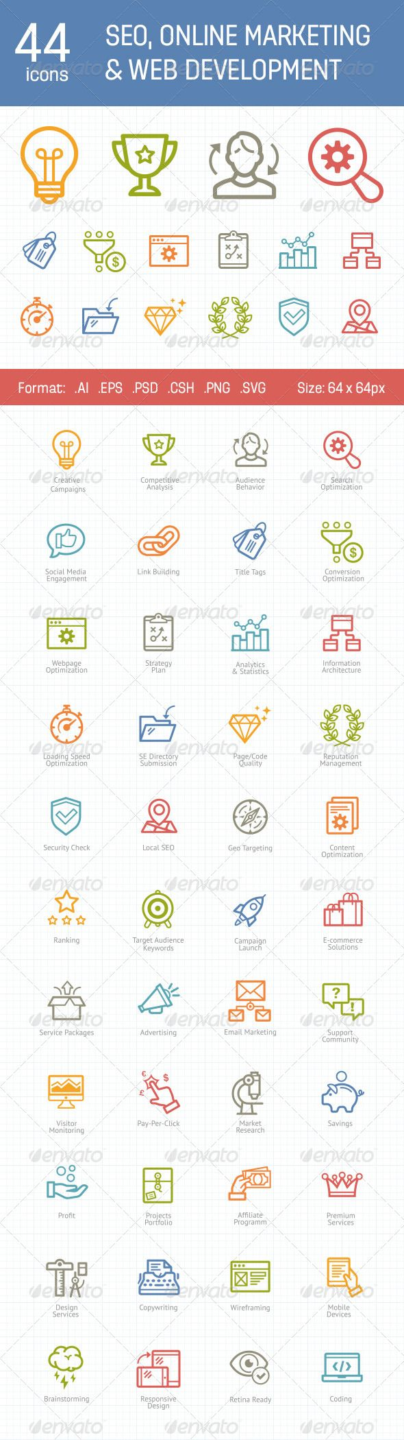 Professionally made premium quality SEO, Online Marketing and Web Development icon set. Can be used in all kind of media: template