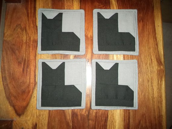 Set Of Four Upcycled Padded Patchwork Black By ThePatchWorkShop