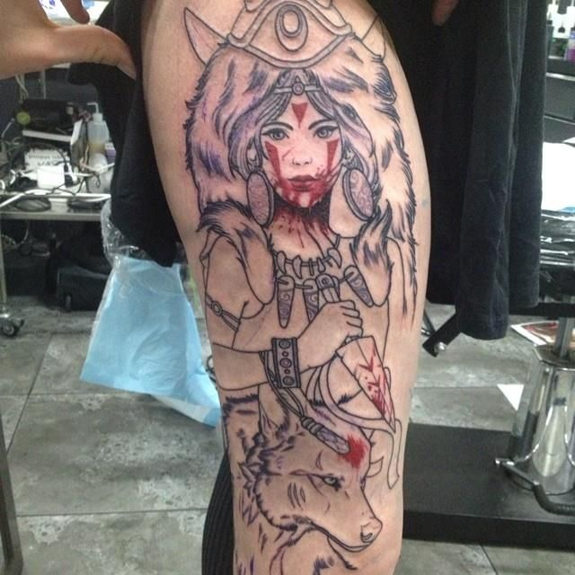 Start of a Princess Mononoke ‪#‎tattoo‬ by Dan Molloy ...