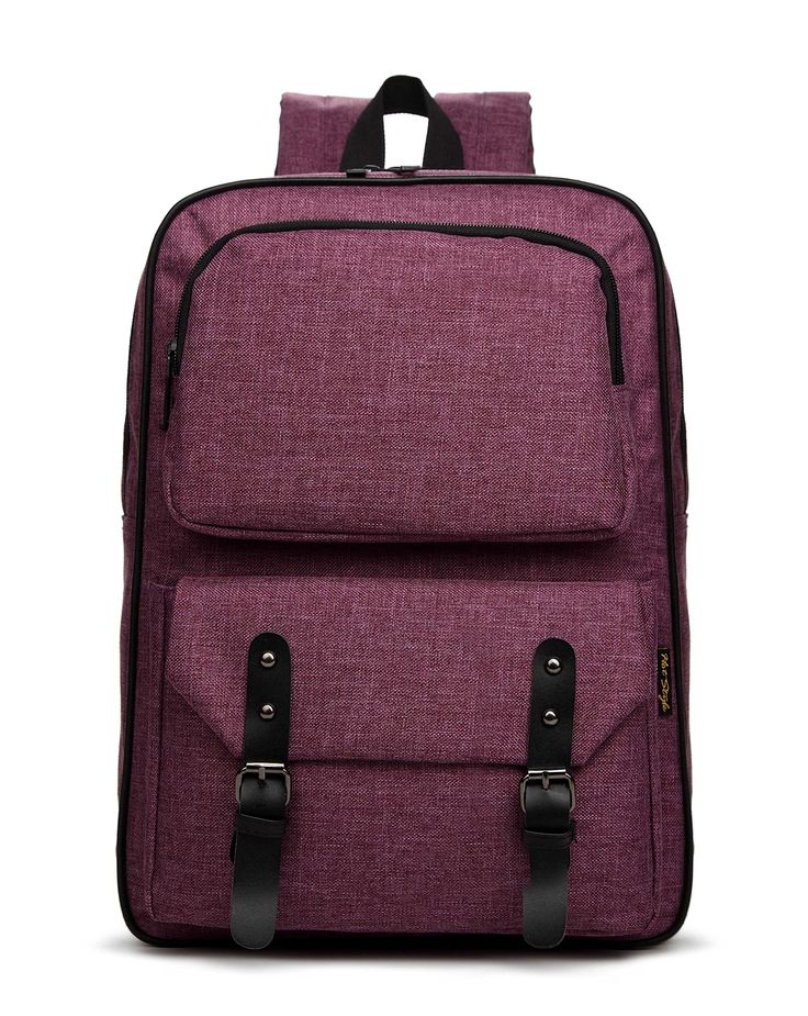HotStyle 928M PHOEBE Casual Vintage Preppy Style Lightweight Linen Backpack Fashion Cute Travel School College Rucksack Shoulder Bag Bookbags Daypack for Teenage Boys Girls, Students and Women With 14-inches Laptop HT982 (Purple)
