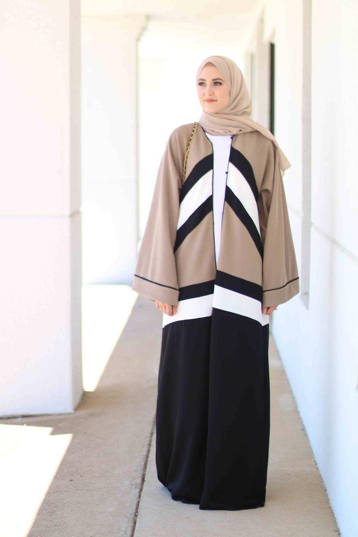 Colour block abaya as worn by Leena Asad. Dubai style abaya
