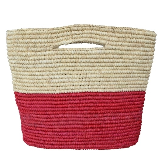 Toquilla straw bicolor Tote - Natural Red by PRYMAL. 100% Handmade in Ecuador. Crocheted Toquilla Straw USD$ 85,00
