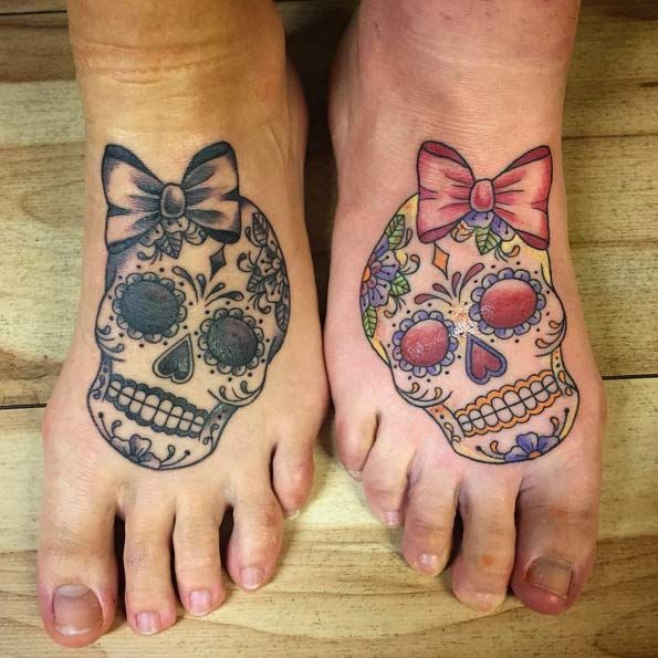 Cráneo del azúcar de la hermana tatuajes por Rachelle Downs