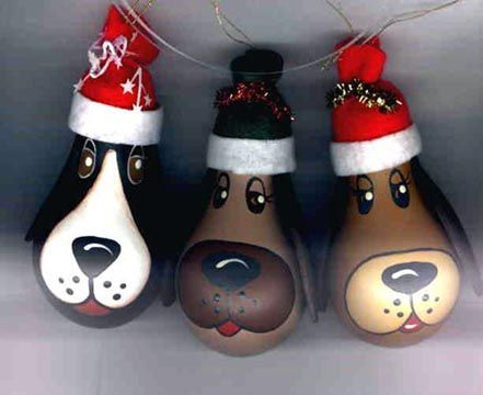 Christmas Tree ornaments made of light bulbs | Dog LightBulbs come in 3 colours: