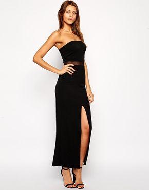Agrandir TFNC - Maxi robe fendue sur la cuisse avec empiècement en tulle