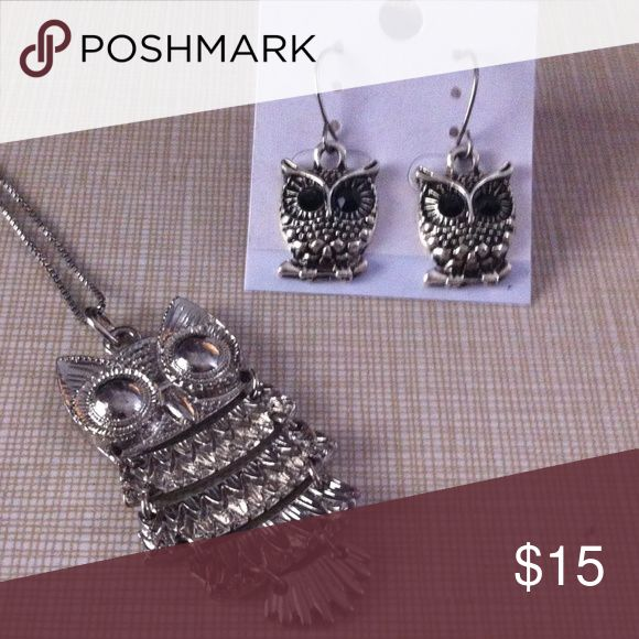 HOST PiCK tdy 8/6  Pretty owl Sp set Necklace is 18' long and pendant is approximately 2'long free earrings 1'1/2 long with purchase Nwt Jewelry Necklaces