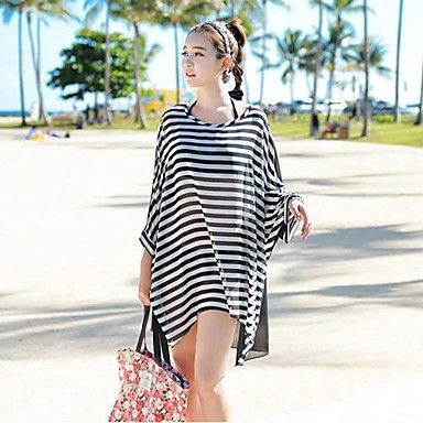 Women 'S Crew Neck  Chiffon Striped Oversized Batwing Sleeve Fashion Bikini Cover Up – USD $ 8.99