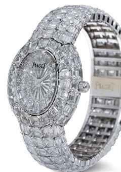 ★ PIAGET - EXTREMELY RARE AND SUPERLATIVE 18K WHITE GOLD AND DIAMOND WRISTWATCH WITH BRACELET