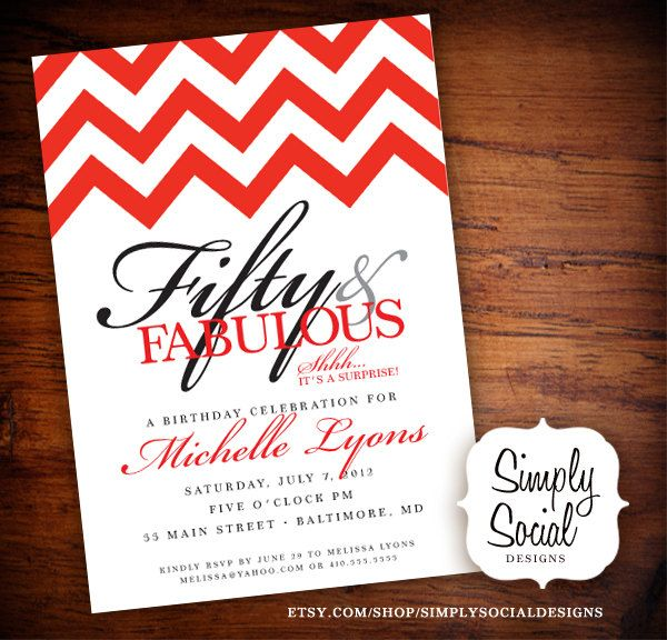Surprise 50th Birthday Party Invitation with Chevron.