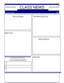 class newsletter template or student newsletter template english
