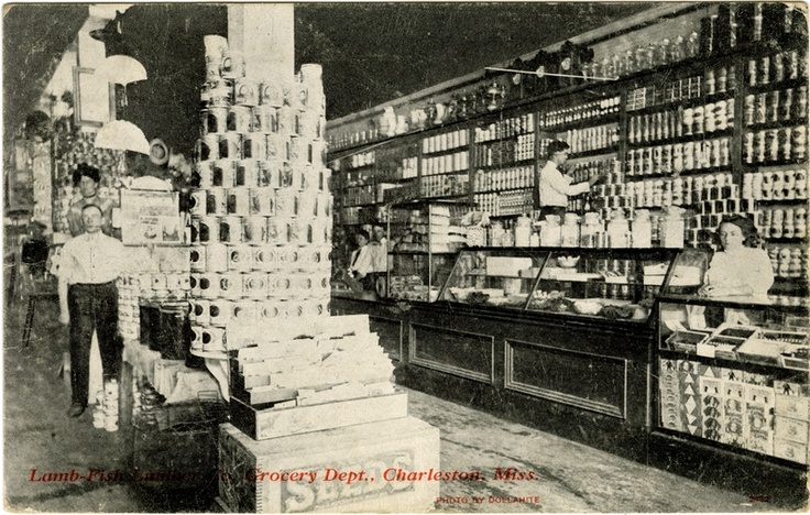 "Cooper Postcard Collection  ""Lamb-Fish Lumber Co. Grocery Dept., Charleston, Miss.""  Charleston, Mississippi, Tallahatchie County: Lamb Fish Lumber, Birthday 5 28 2014, Cooper Postcard, Collection Lamb Fish, Tallahatchie County, Grocery Dept"