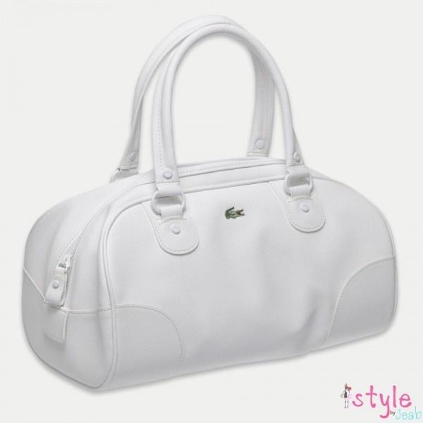 กระเป๋า, brandname, แบรนด์เนม, handback, กระเป๋าถือ, Lacoste, white medium Boston bag, nf0280nc