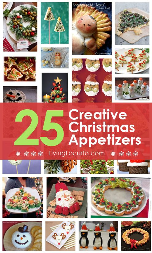 25 Amazing Christmas Party Appetizer Recipes! Fun Food Ideas and more for a Holiday Party. LivingLocurto.com