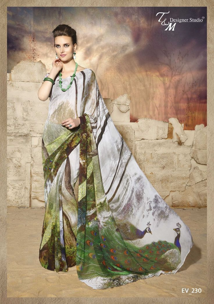 Gorgeous Peacock Print Saree with Blouse