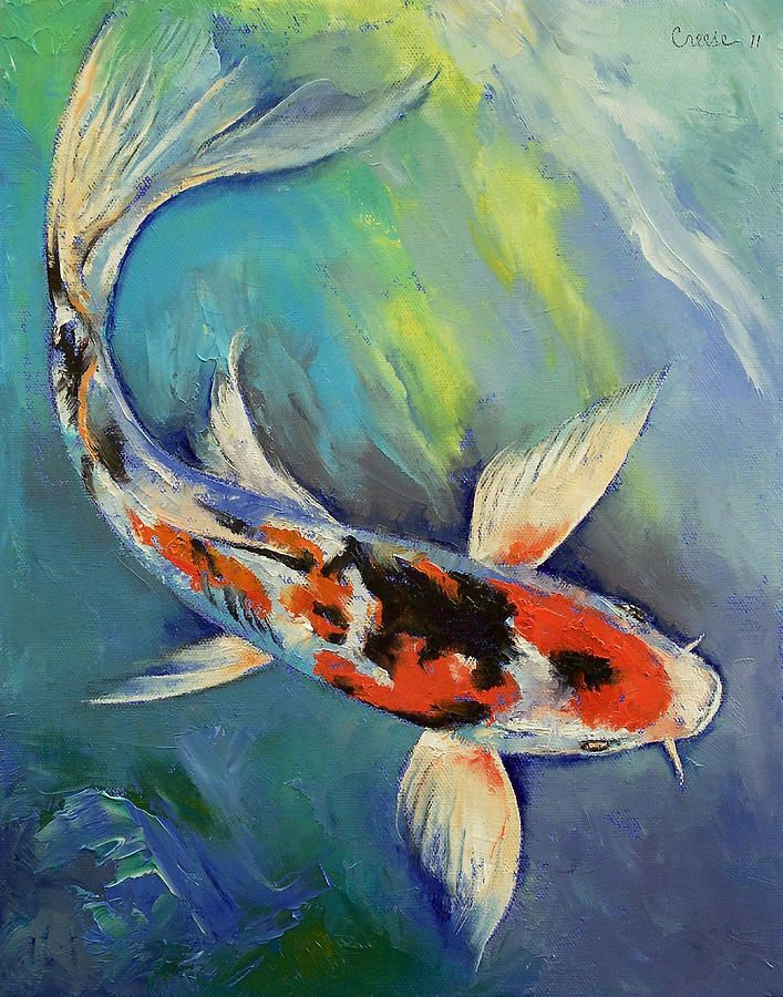 Japanese Koi Kohaku Feng Shui Wood Painting by Gordon Lavender |Japanese Koi Painting
