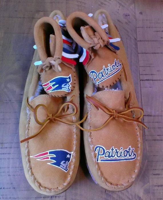 acabacfc459 Matching Daddy and me custom New England Patriots mens slippers and baby  moccasins are one-of-a-kind