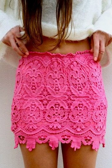 laceFashion, Summer Outfit, Style, Pink Lace, Pink Skirts, Summer Skirts, Pencil Skirts, Crochet Skirts, Lace Skirts