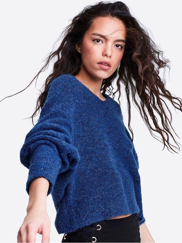 Ingrid strikket genser | | Blå | BikBok | Norge