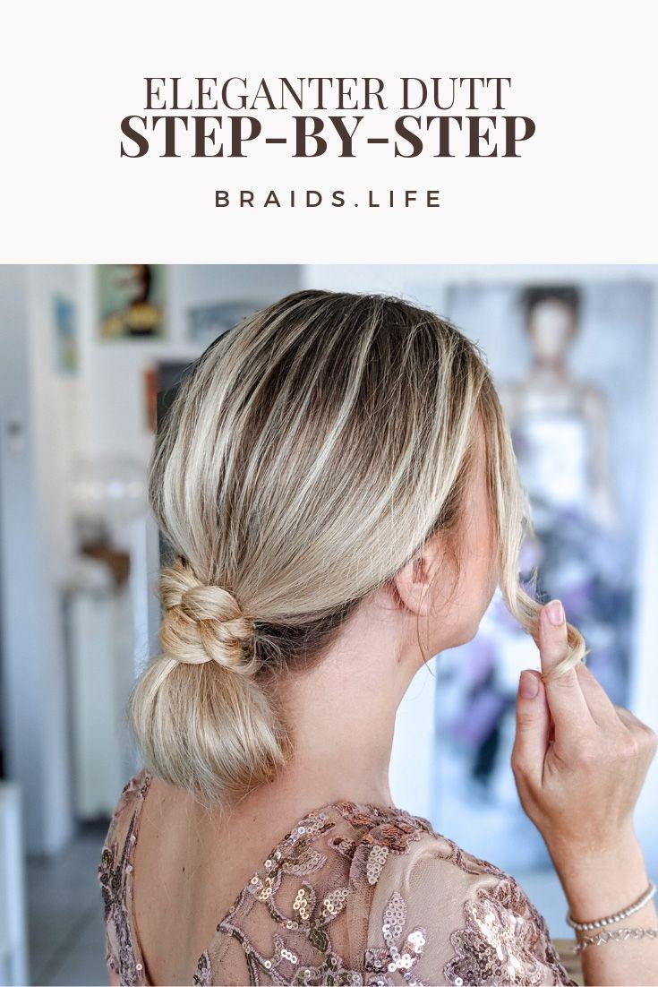 10 Schritte Frisuren-Anleitung: Eleganter Dutt im Nacken  Frisuren