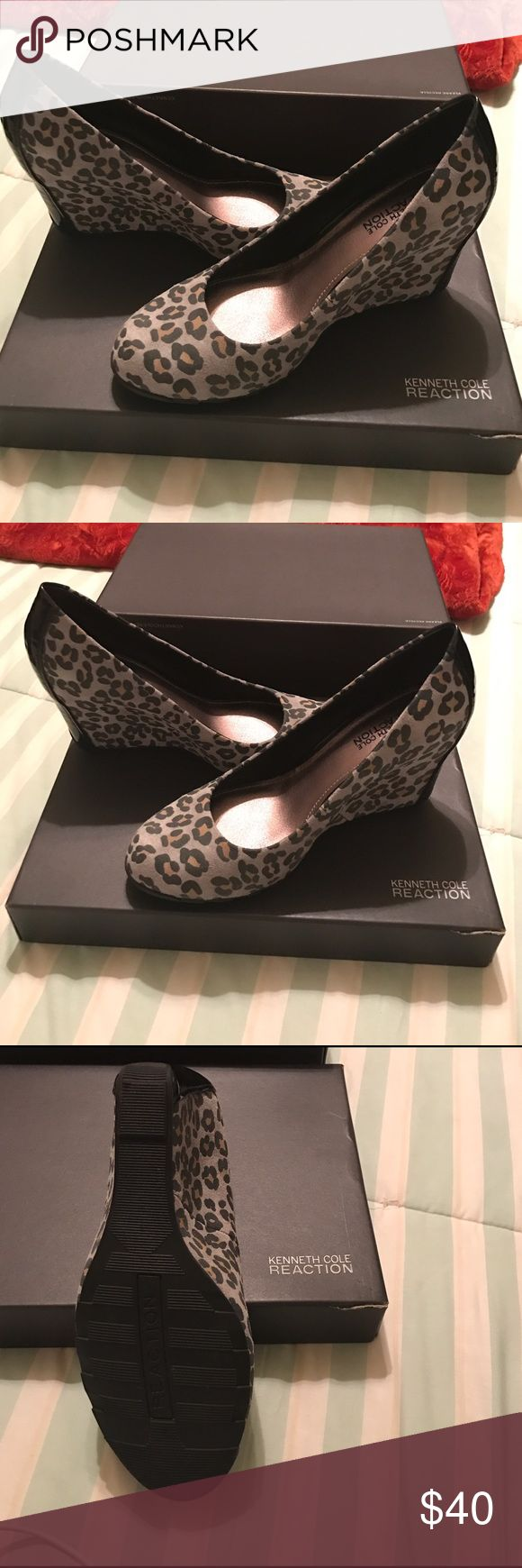 Kenneth Cole ladies shoes 7.5 Ladies navy blue and cheetah print Kenneth Cole shoes. Only wore twice, needs a good home! Kenneth Cole Reaction Shoes Wedges