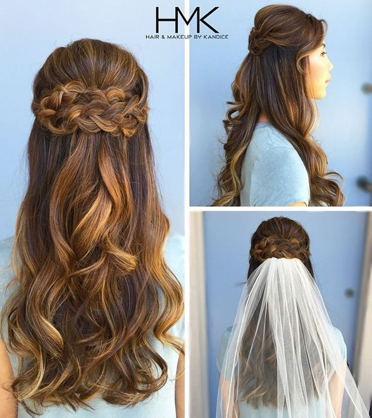 """34 Likes, 2 Comments - Hair and Makeup by Kandice (@hairandmakeupbykandice) on Instagram: """"Wedding season continues with a beautiful half-up, half-down braid style!  #longhair #blondehair…"""""""