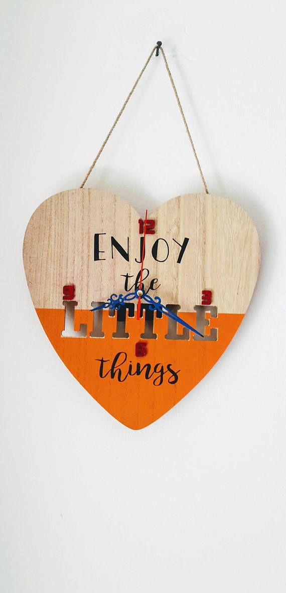 Unique Wooden wall clock Large heart shaped wooden wall clock Nursery wall clock Wall
