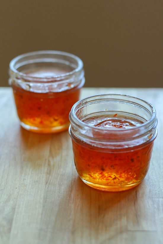 Red Pepper Jelly Recipe pour over cream cheese and eat with truscuit crackers! delicious!