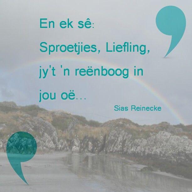 Ek sing dit dikwels vir my seuntjie... #goldenoldies En ek wens ek kan my deur jou oë sien.