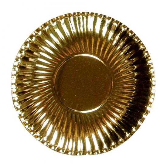Platte kartonnen bordjes metallic goud 23 cm. 10 stuks kartonnen borden in metallic gouden kleur. De bordjes hebben een diameter van ongeveer 23 cm.