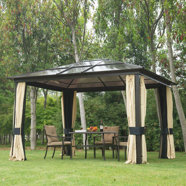 12'x10' Outdoor Patio Canopy Party Gazebo Shelter Hardtop w/ Mesh and Curtains  #Outsunny
