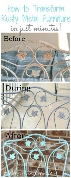 How To Transform Rusty Metal Furniture in just minutes! Spruce up your ugly patio furniture in minutes. An easy DIY project anyone can do!
