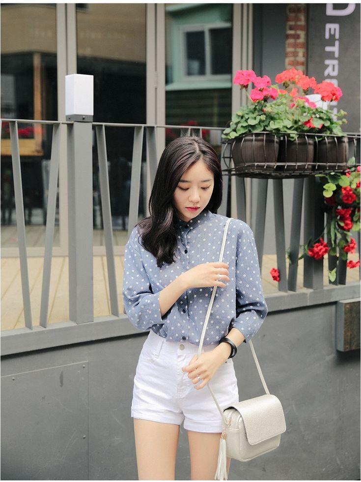 Linen Dot Shirt - Shirts & Blouses | Korean Fashion #streetstyle