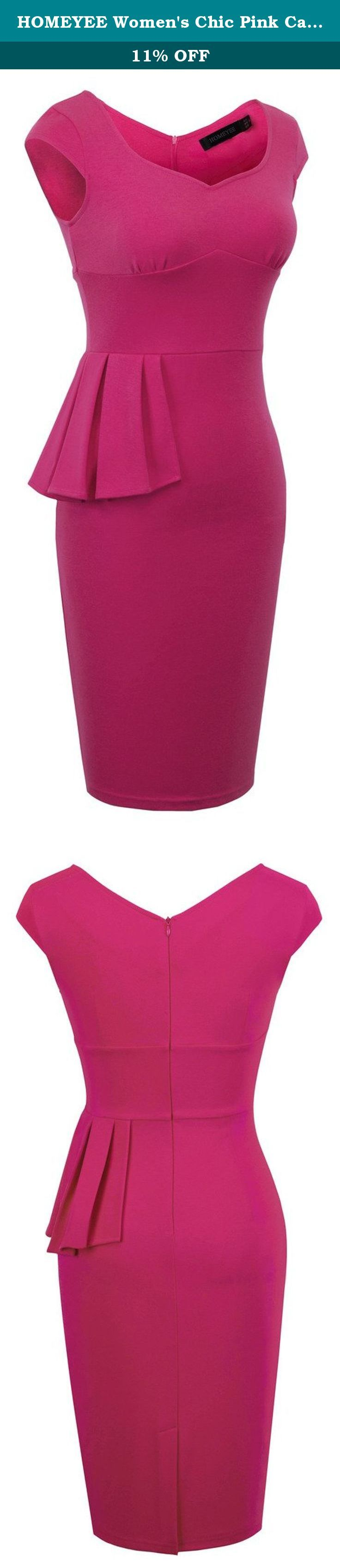 HOMEYEE Women's Chic Pink Cap Sleeve Peplum Wear to Work Pencil Dress B292 (6, Pink). *Dress Description: This stylish, cap sleeve, sweetheart neckline, knee-length , pink dress that could be dressed up or down depending on the occasion: for example, worn for daytime business,church or for evening cocktail,party and prom.This is also a vintage stretchy elegant style that's vibrant and comfy. *Size Information (just for reference): Please remember to check the size chart before you order…