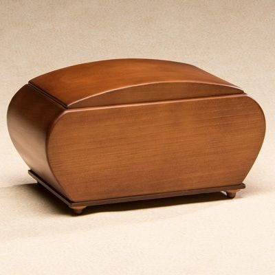 Rustic Wood Cremation Urn in Radiata with Ivory Finish - Urns Northwest #curves #urn #rustic #radiata