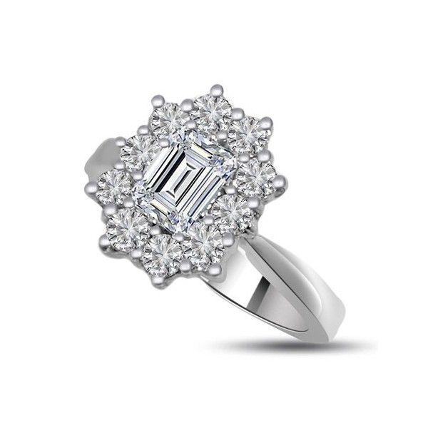 ANELLO CLUSTER CON DIAMANTE 18CT ORO BIANCO | Anello Cluster. La pietra centrale taglio smeraldo e le 10 pietre circostanti sono montate in un incastonaturta a griffe. Il totale carati dei diamanti per questo anello e` 0.90ct. La pietra centrale taglio smeraldo e` 0.40ct con 10 pietre circostanti taglio brillante dal peso di 0.05 ciascuno. Tutti i diamanti sono disponibili in I, H, G e F colore e in VS1 e SI1 purezza. La testa dell`anello e` 11.0mm e la fascia e` 2.4mm.