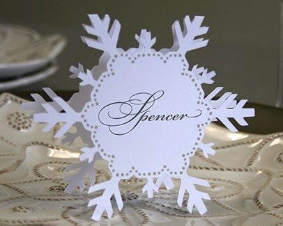 Snowflake Folded Style Escort Cards from Timeless Paper