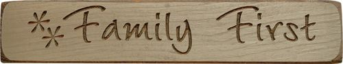 Family First Engraved Block - KP Creek Gifts