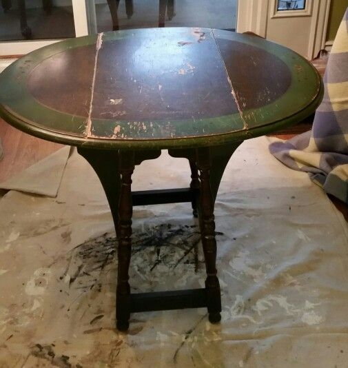 Vintage butterfly drop-leaf side table before transformation.