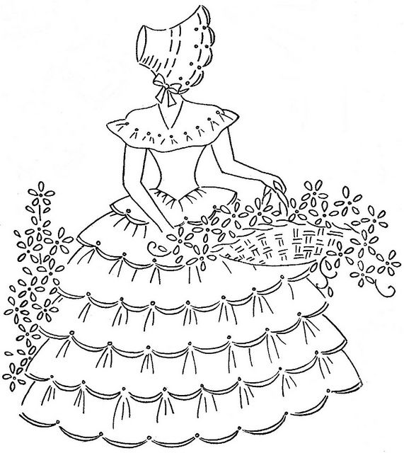 """How about…putting some lace ruffles on this girl's crinoline skirt? And ribbon roses in her basket.  The basket itself of  stitches in raffia. The difficult part in this is going to be her arm, over the ruffles of lace…have to think about that! The pattern is on """"Flickr: The Vintage Embroidery Patterns"""" which I found on somebody's page on Pinterest."""