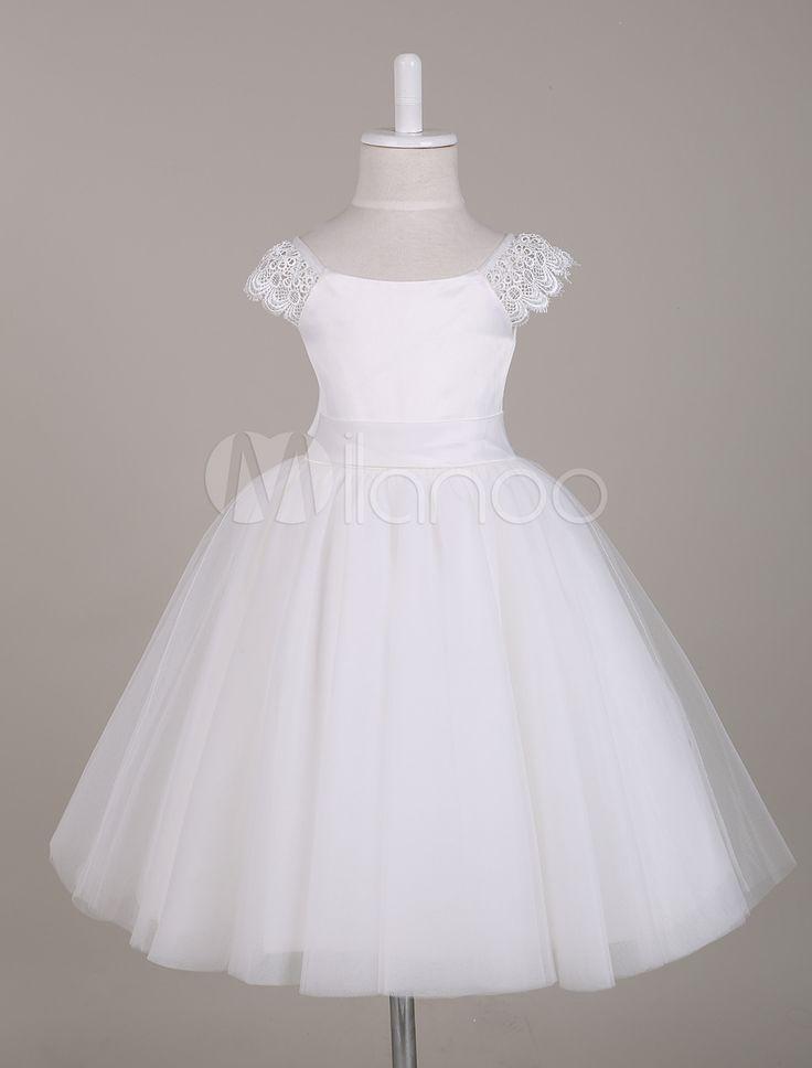 Vestido da menina de flor renda branca com mangas Cap