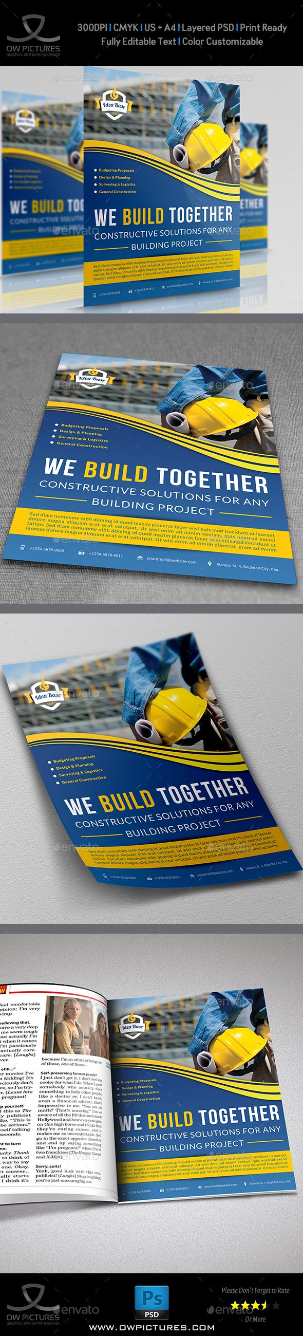 Construction Business Flyer Template Vol.2 — Photoshop PSD #engineering #rail • Available here → https://graphicriver.net/item/construction-business-flyer-template-vol2/7602389?ref=pxcr
