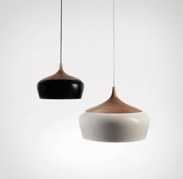 Φωτιστικό μονόφωτο με μαύρο ή λευκό μέταλλο και ξύλο 40cm