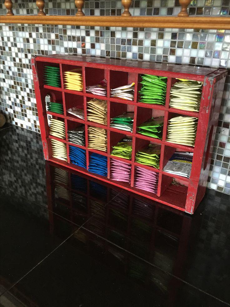 Tea bag storage using an old Coca Cola crate