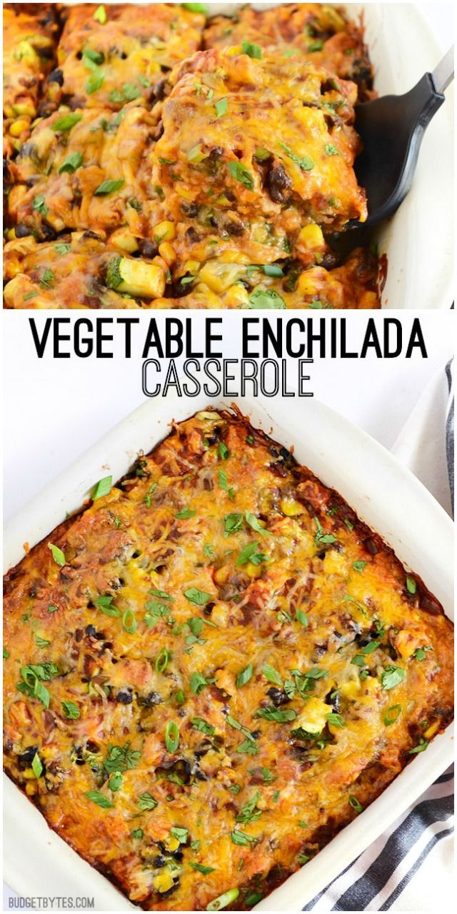 A colorful vegetable mix, homemade enchilada sauce, corn tortillas, and cheese make this Vegetable Enchilada Casserole the epitome of comfort food.