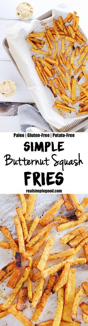 You need five ingredients, and you'll enjoy a batch of delicious butternut squash fries. Just a little avocado oil, smoked paprika, salt and pepper. Paleo, Gluten-Free + Potato-Free. | realsimplegood.com