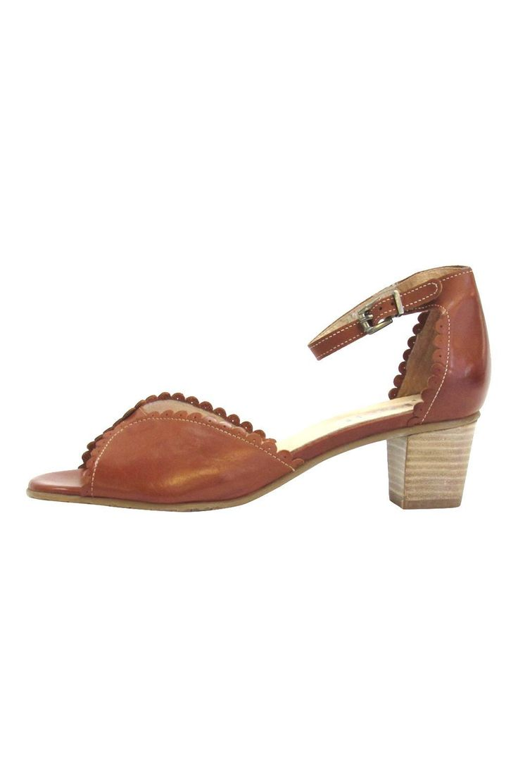 "These beautiful scalloped trimmed pumps are hand crafted with high quality european leather. Detailed with contrast stitching and delicate buckle ankle strap. Solid rubber sole for traction and soft leather insole.  Approximate 2"" stacked wood heel.  Scalloped Leather Pump by Fidji. Shoes - Pumps & Heels California"